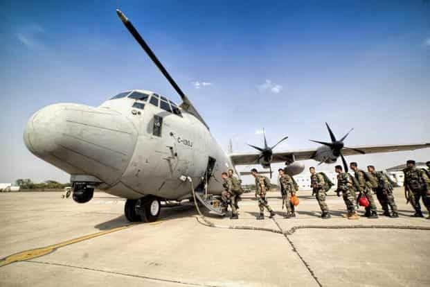 In this photo provided by the Air Force, soldiers board a C-130J plane during the ongoing IAF exercise 'Gaganshakti-2018'. Photo: PTI