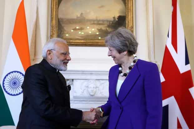 British PM Theresa May, Indian Prime Minister Narendra Modi during the bilateral meeting inside 10 Downing Street in London on 18 April 2018  on the sidelines of the Commonwealth Heads of Government meeting (CHOGM). Photo: AFP