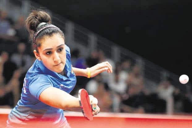 Manika Batra in action during an international tour