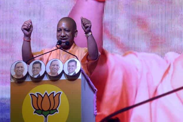 Yogi Adityanath was addressing a large gathering in Virar on Mumbai's periphery, which is part of the Palghar Lok Sabha constituency that goes to a crucial bypoll on 28 May. Photo: Abhijit Bhatlekar/Mint