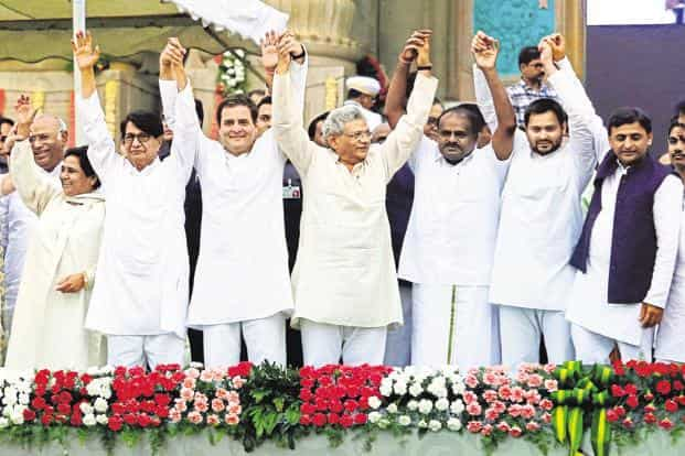 Leaders from various political parties after swearing-in of JD(S) leader Kumaraswamy as CM of Karnataka in Bengaluru, on Wednesday.