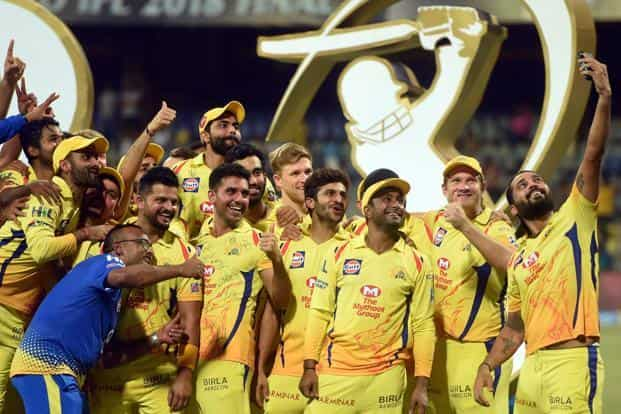 Chennai Super Kings players taking a selfie as they celebrate winning the IPL 2018 beating Sunrisers Hyderabad in the final, in Mumbai on Sunday. Photo: PTI