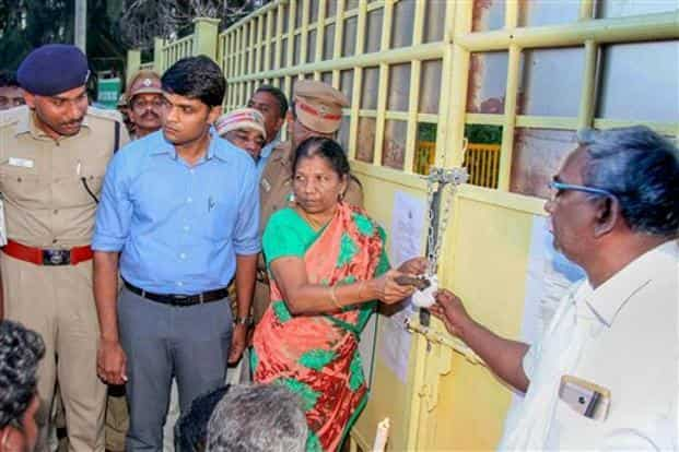 District collector Sandeep Nanduri along with other officials seal the main gate of Sterlite copper unit in Tuticorin on 28 May, 2018. Photo: PTI