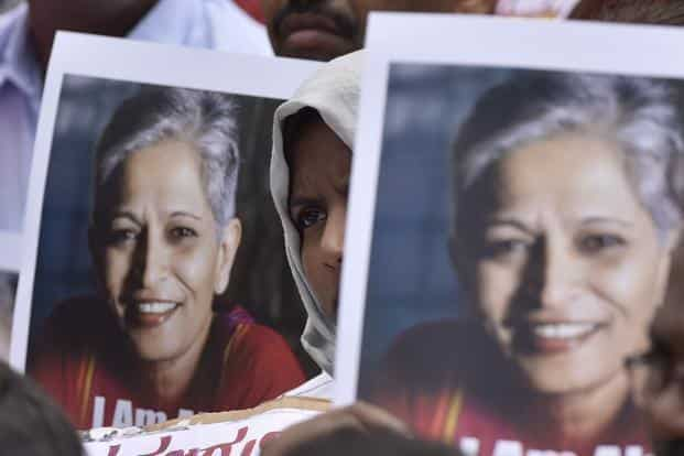 Gauri Lankesh, a progressive activist and editor of Kannada tabloid Gauri Lankesh Patrike, was shot down by unknown assailants outside her home in Bengaluru on 5 September last year. File photo: HT