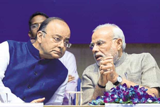 Finance minister Arun Jaitley and PM Narendra Modi. The combined deficit of the Centre and the states is more than twice the average of comparable emerging market countries. Photo: AFP
