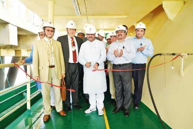 Oil minister Dharmendra Pradhan with the Russian delegation and GAIL officials at the Dahej LNG terminal in Gujarat on Monday. India imported 19 million metric tonnes of LNG in 2016-17. Photo: Twitter