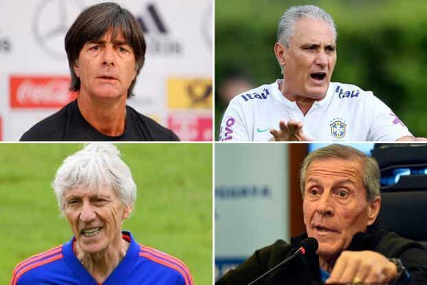 ecebfff1e93 ... Clockwise from top: Germany manager Joachim Low, Brazil's Tite,  Uruguay's Oscar Tabarez and