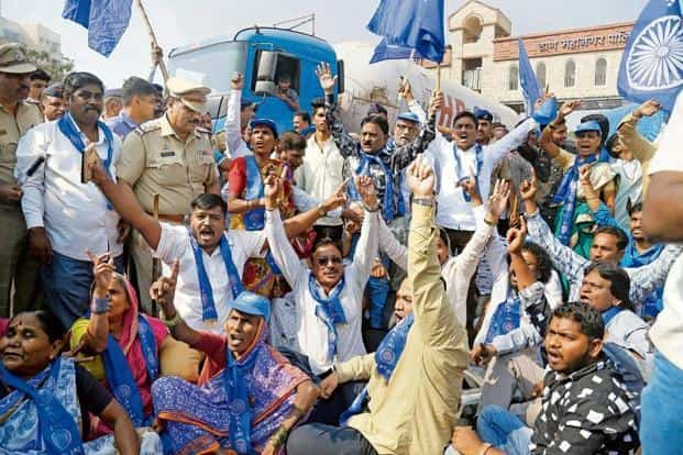 A file photo of activists protesting in Thane against the violence at a Dalit rally in Bhima-Koregaon on 1 January. Photo: PTI