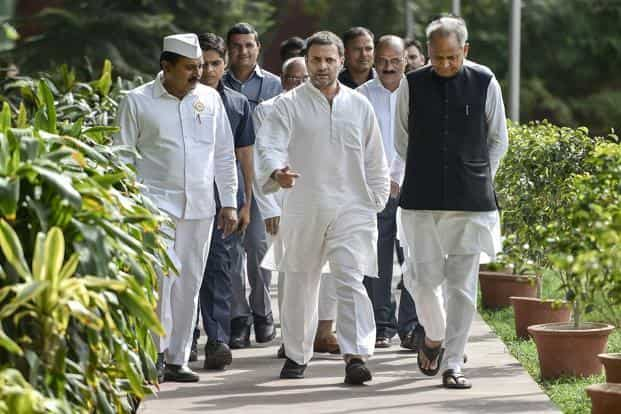 Congress President Rahul Gandhi with senior leader Ashok Gehlot arrive to attend the Seva Dal meeting, at AICC Headquarter in New Delhi on Monday. Photo: PTI
