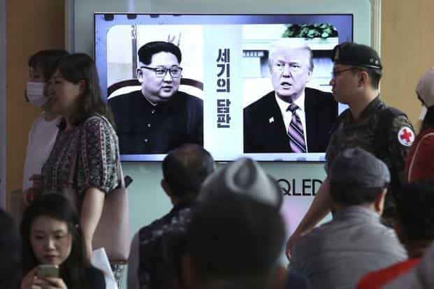 With gaps remaining over what denuclearisation would entail, officials from both sides were trying to push the agenda forward ahead of Tuesday's summit. Photo: AP