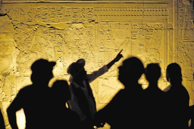 Visitors at the temple of Luxor, once the largest in the world. Photo: iStockphoto