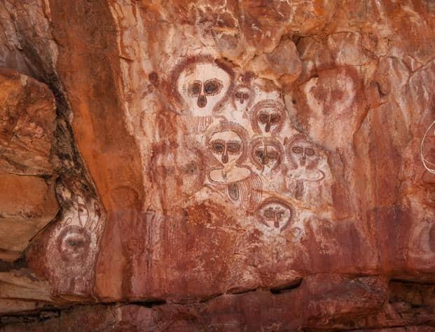 Aboriginal Art, Wunnumurra Gorge Aboriginal rock art on the Barnett River, Mount Elizabeth Station. Photo: Wikimedia Commons