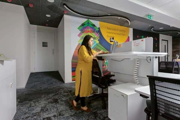 A standing desk at the Mastercard office in Vadodara. Photo: Nafis Khan/Mint