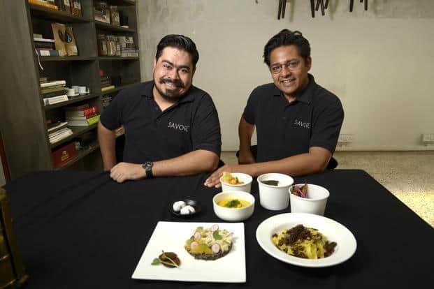 Savor founder Kanu Gupta (right) with executive chef and partner Sushil Multani. Photo: Abhijit Bhatlekar/Mint