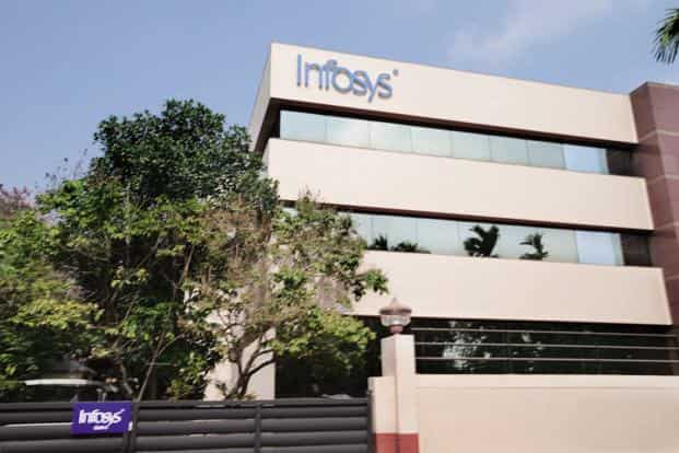 At 12.55pm, Infosys shares were up 0.35% at Rs1276.80. Photo: Mint