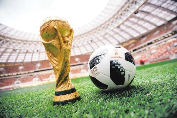 ... World Cup trophy and official match ball Telstar 18 of FIFA Football  World Cup 2018 in 68aaf45cde21