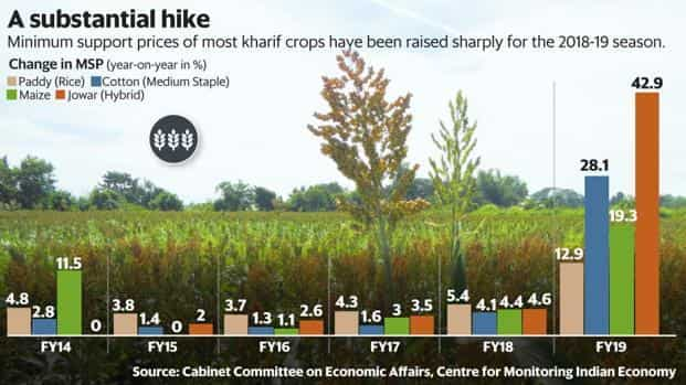 Minimum support prices (MSPs) of most kharif crops have been raised sharply for the 2018-19 season. Graphic: Mint