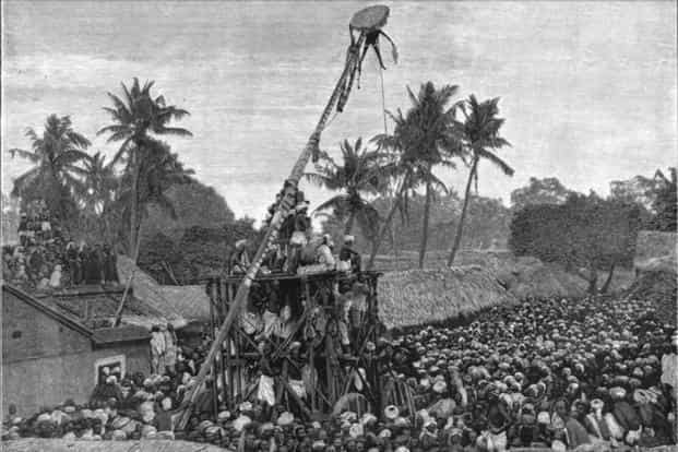 One rain-making custom involved suspending a man with hooks attached to his back. In this photograph, a crane-like contraption lifts a man 35ft in the air. Photo: Missionary Herald (1892)