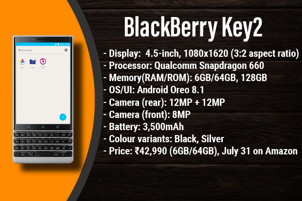 huge selection of a2ccf b5374 BlackBerry Key2 with DTEK, physical keyboard launched in India ...