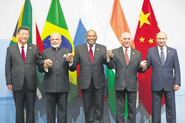 PM Narendra Modi with China's Xi Jinping, South Africa's Cyril Ramaphosa, Michel Temer of Brazil and Russia's Vladimir Putin at the BRICS summit in Johannesburg on Thursday.