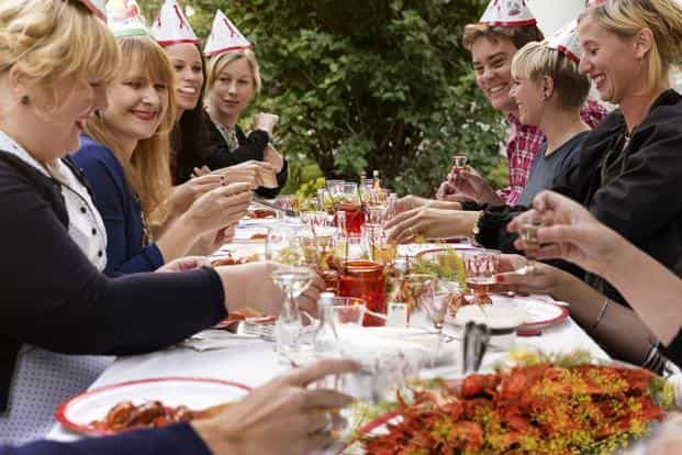 Crayfish parties are carefully planned affairs. Photo courtesy: Carolina Romare/imagebank.sweden.se
