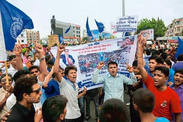 Dalits protest in Ahmedabad against attack on the members of the community. File Photo: Siddharaj Solanki