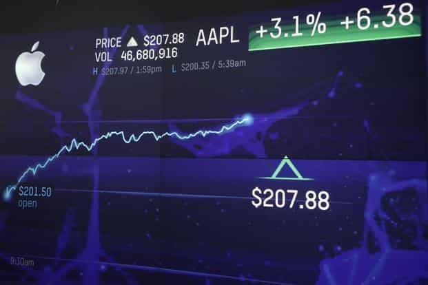 Apple became the first American company—and the second in the world, after Petro China in 2007—to cross $1 trillion in market capitalization. Photo: Bloomberg