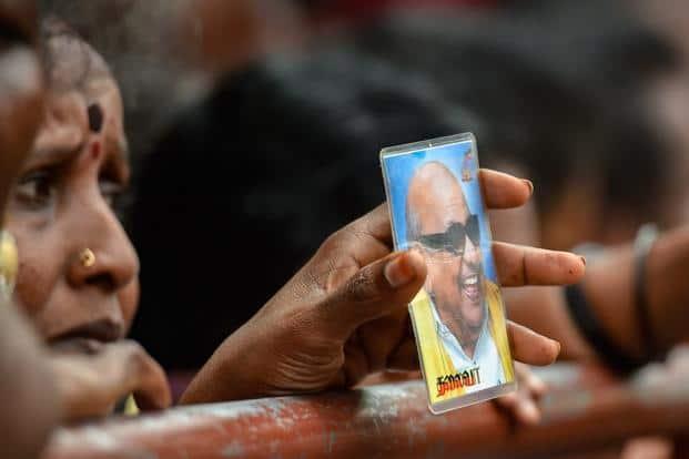 DMK supporters outside Chennai's Kauvery Hospital where DMK President M. Karunanidhi breathed his last on Tuesday. Photo: PTI