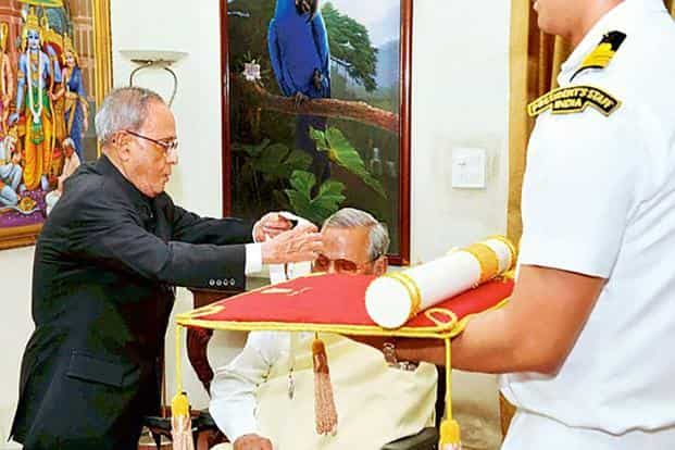 Former president Pranab Mukherjee conferring Atal Bihari Vajpayee with the Bharat Ratna in 2015.