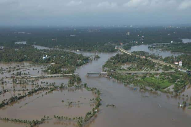 A flooded area in the north part of Kochi, in Kerala. Photo: AFP