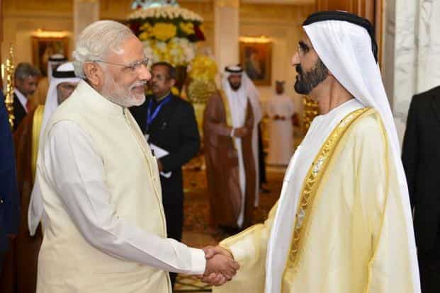 PM Narendra Modi with Dubai ruler Sheikh Mohammed bin Rashid al Maktoum. Photo: Reuters