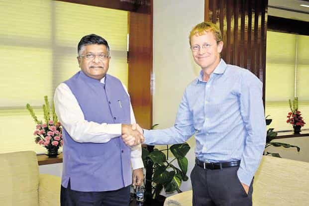 Union IT Minister Ravi Shanker Prasad met WhatsApp CEO Chris Daniels and requested him to devise ways to trace the origin of fake messages circulated on the platform. Photo: PTI.