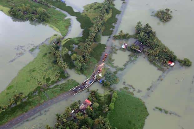 An aerial view shows partially submerged road at a flooded area in Kerala. Photo: Reuters