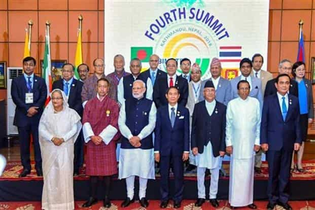 Prime Minister Narendra Modi and other BIMSTEC leaders assemble for a group photograph at the concluding ceremony of the 4th BIMSTEC Summit in Kathmandu on 31 August, 2018. Photo: PTI.