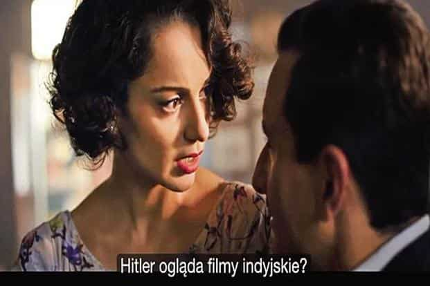 Tatiana Szurlej's Polish subtitles for 'Rangoon'. Kangana Ranaut is asking in Hindi, 'Hilter watches Hindi films?'
