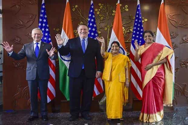 (From left) US secretary of defence James Mattis and US secretary of state Mike Pompeo with foreign minister Sushma Swaraj and defence minister Nirmala Sitharaman in New Delhi on Thursday.