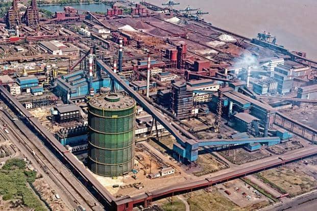 Aerial view of blast furnace at Essar Steel in Hazira, Gujarat.