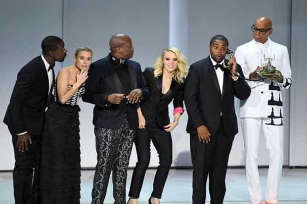 Sterling K. Brown, Kristen Bell, Tituss Burgess, Kate McKinnon, Kenan Thompson, and RuPaul perform onstage during the 70th Emmy Awards at Microsoft Theater in Los Angeles, California. Photo: Getty Images
