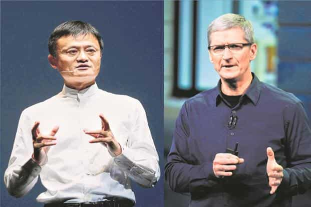 Alibaba chairman Jack Ma (left) and Apple CEO Tim Cook. Photo: Bloomberg