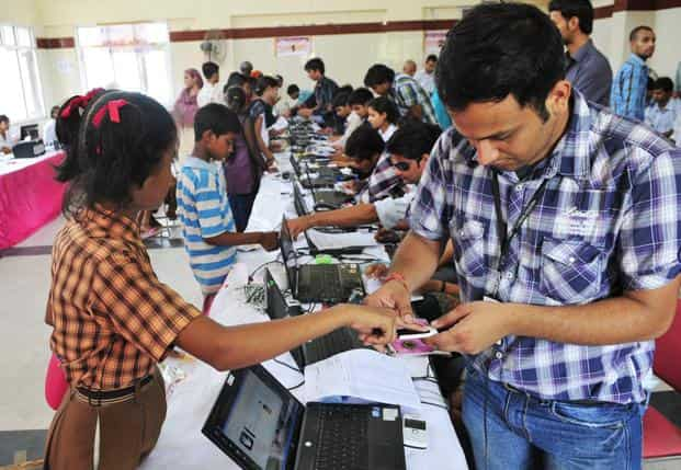 A file photo of a biometric collection exercise in Delhi. Matthan's book addresses the challenges Aadhaar poses to individual privacy. Photo: Ramesh Pathania/Mint