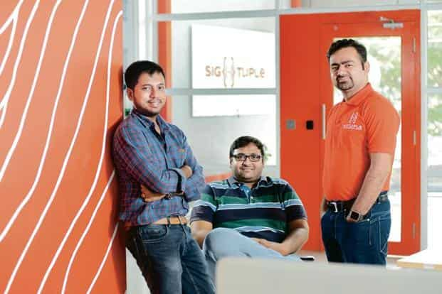 (From left) SigTuple co-founders Tathagato Rai Dastidar, Rohit Kumar Pandey and Apurv Anand.  Photo: Mint