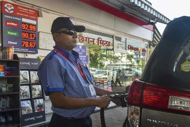 Shares of oil marketing companies fell after finance minister Arun Jaitley said that the government has asked the companies to absorb Rs 1 cut on fuel prices. Photo: PTI