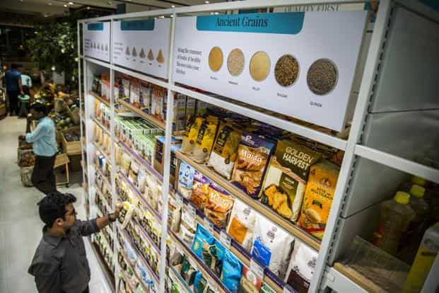 Indigenous grains contribute about 15% to overall staples category at the Foodhall store at The Chanakya mall in New Delhi. Photo: Pradeep Gaur/Mint