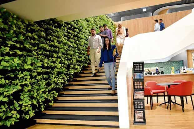 The staircase and conversation pods are central to employee engagement. Photo: Jithendra M/Mint