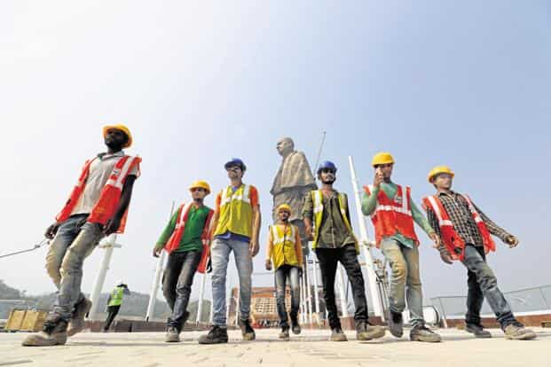 Labourers at the Statue of Unity site in Kevadia town of Narmada district. Photos: Nandan Dave/Mint