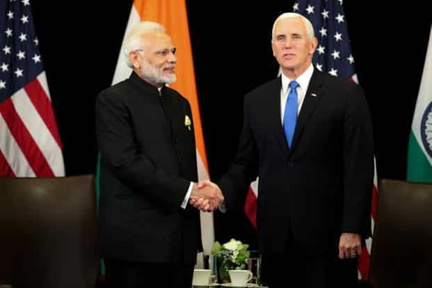 Prime Minister Narendra Modi with US Vice President Mike Pence during ASEAN summit in Singapore on 14 November 2018. Photo: AFP