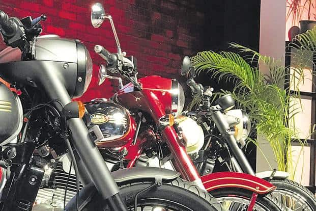 From (left) Jawa Perak, the Jawa and Jawa 42 at their launch event in Mumbai on Thursday. Photo: twitter@reach_anupam