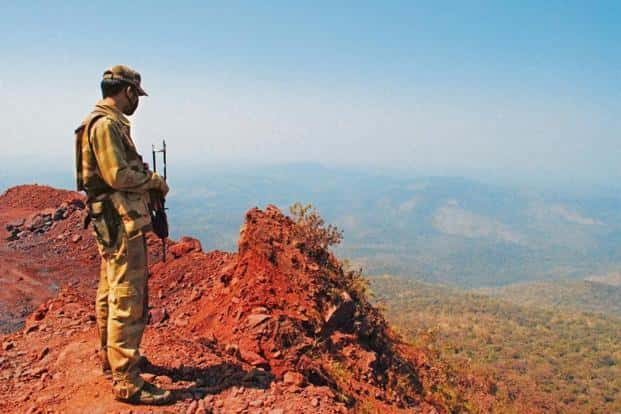 An army man in Dandakaranya region during the first phase of elections earlier this month.  Photo: Shaswati Das/Mint