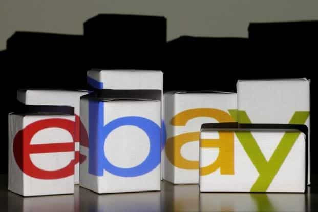An eBay logo is projected onto white boxes in this illustration picture taken in Warsaw. Photo: Reuters