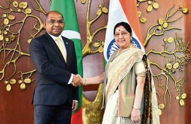 Foreign minister Sushma Swaraj with her Maldivian counterpart Abdulla Shahid in New Delhi on Monday.